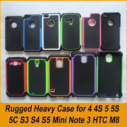 Wholesale silicone iphone 4s covers - Rugged Hybrid Case Cover for iPhone 6 6S Plus 4 4S 5 5S GALAXY S4 S5 S6 Note 4 Silicone + PC Double Layer Shockproof Shell