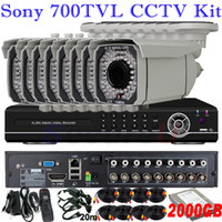 Wholesale Dvr 8ch Audio - Top rated 8 channel security kits home surveillance video thermal alarm audio system install 8ch DVR recorder with 2TB HDD disk