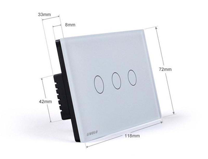 LIVOLO Switches US/AU standard VL-C303DR-81/82 Crystal Glass Panel Digital Touch Screen Dimmer Remote Control Home Wall Light Switch+Remote