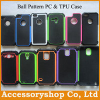 Wholesale S3 Mini Cover Black - Rugged Ball Pattern Case For iPhone 4S 5S 5C Galaxy S3 S4 Mini S5 Note3 Silicone PC Back Cover DHL 100pcs