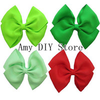 Wholesale Handmade Hair Clip Design - New design 5inch grosgrain ribbon hair bows WITH CLIP baby girls hair accessories 20colors are available 100%handmade 100pcs lot HJ027+4.5cm