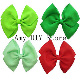Wholesale hair clip ribbon design - New design 5inch grosgrain ribbon hair bows WITH CLIP baby girls hair accessories 20colors are available 100%handmade 100pcs lot HJ027+4.5cm