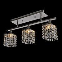 ingrosso ciondoli bianchi moderni-Lampada da soffitto a 3 luci in cristallo a LED moderna design lineare Lampada da soffitto a soffitto a incasso Apparecchio per corridoio, camera da letto, soggiorno