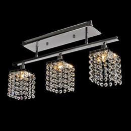 Discount cool ceiling designs Modern 3 Lights Crystal LED Ceiling Light Linear Design pendant lamp Flush Mount Ceiling Lights Fixture for Hallway, Bed