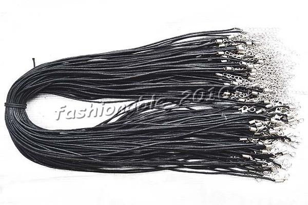 Venta al por mayor 100 unids / lote negro cordón de cáñamo Silver Tone broche de la langosta Fit DIY collares 22