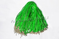 Wholesale Green Silk Cord Necklace - Wholesale 100pcs lot Green Silk Organza Ribbon braided Necklace Strap Cord Chain Silver Tone Lobster clasp #ac7 FREE Shipping