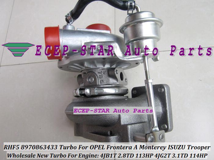 RHF5 Vicc 8970863433 VI95 8970863435 Turbo Turbo till Opel Frontera A Monterey ISUZU Trooper 4JB1T 2.8TD 2.8L 4JG2T 3.1L 3.1TD 114HP