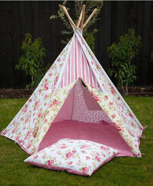2014 Pink Floral Kids Play Indian Teepee Tent Indoor Tent