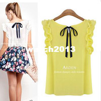 Wholesale New Style For Blouses Chiffon - Wholesale-2014 new spring crop top clothing bow european style ruffles sleeveless chiffon blouses for women
