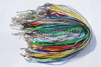 Wholesale ribbon braiding - Wholesale 100pcs lot Mixed Colors Silk Organza Ribbon braided Necklace Strap Cord Chain Silver Tone Lobster clasp #ac24 FREE Shipping