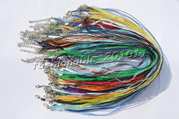 Wholesale Silk Cord Chain Necklace Wholesale - Wholesale 100pcs lot Mixed Colors Silk Organza Ribbon braided Necklace Strap Cord Chain Silver Tone Lobster clasp #ac24 FREE Shipping