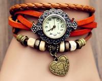 relojes suizos al por mayor-China Big Wholesaler Nueva llegada retro reloj dulce Cool Punk Style Twine Knit mujeres relojes con encanto del corazón de calidad superior envío gratis
