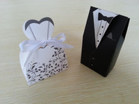 Wholesale Gift Paper Box Doll - Wholesale 500pcs(250pairs) Bride Groom Wedding favor Box Candy Box Wedding Bridal Favor Wedding Gift Boxes