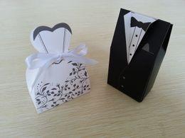 Wholesale White Bride Black Groom Wedding - Wholesale 500pcs(250pairs) Bride Groom Wedding favor Box Candy Box Wedding Bridal Favor Wedding Gift Boxes