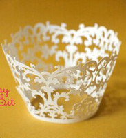 Wholesale Ivory Laser Cut Cupcake Wrappers - free shipping 60pcs Ivory garden vintage paper cake paper cupcake wrapper,laser cut cup cake wrapper,baby party shower wedding party