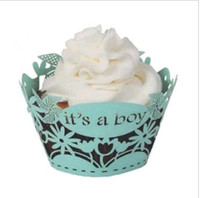 Wholesale Wholesale Baby Blue Cupcake Cups - free shipping 60pcs blue its a boy laser cut lace cupcake wrapper muffin paper cup cake liner holder for baby shower birthday party supply