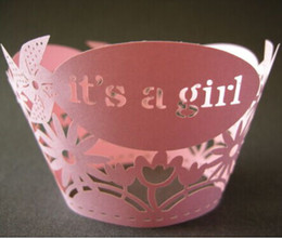 """Wholesale Baby Girl Cupcake Wrappers - 12pcs lot free shipping Pink """"Its a girl"""" laser cut lace cupcake wrapper muffin paper cup cake liner holder 4 girls baby shower party supply"""