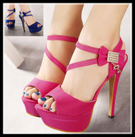 New rhinestone sandals with bowtie sexy hot pink wedding san...