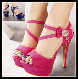Wholesale Sexy Blue Prom Shoes - New rhinestone sandals with bowtie sexy hot pink wedding sandals high heel women shoes prom gown dress shoes 2 colors size 34-39