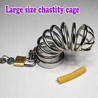 Brand New Мужская нержавеющая сталь Penis Chastity belt Art device Cock cage with Ring Padlock SM Секс-игрушки / 5 Размер Выберите