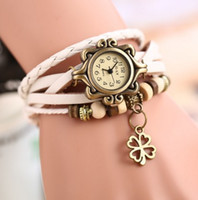 Wholesale Braided Leather Belts Wholesale - Retro Gothic Watches Woman Quartz Watch Ladies Braided tassels Leather Bracelet Watches Lady Fashion Watch Clock Lucky grass