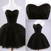 Wholesale Pretty Sweet - Black Mini Short Tulle Party Dresses Pretty Strapless Beading Lace-Up Back Short Homecoming Dress Sweet 16 Dresses