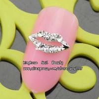 Wholesale Nail Art Jewelry Bows - Wholesale-RH950 new 3D nail art bow alloy nail decorations 30pcs luxury nail jewelry for full nail tip glitter rhinestones free ship