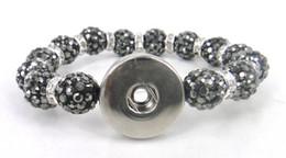 Pulseras de bolas brillantes online-bola de cristal de hematita jet brillante bola de pavé bola de metal botón de presión pulsera de bola de discoteca