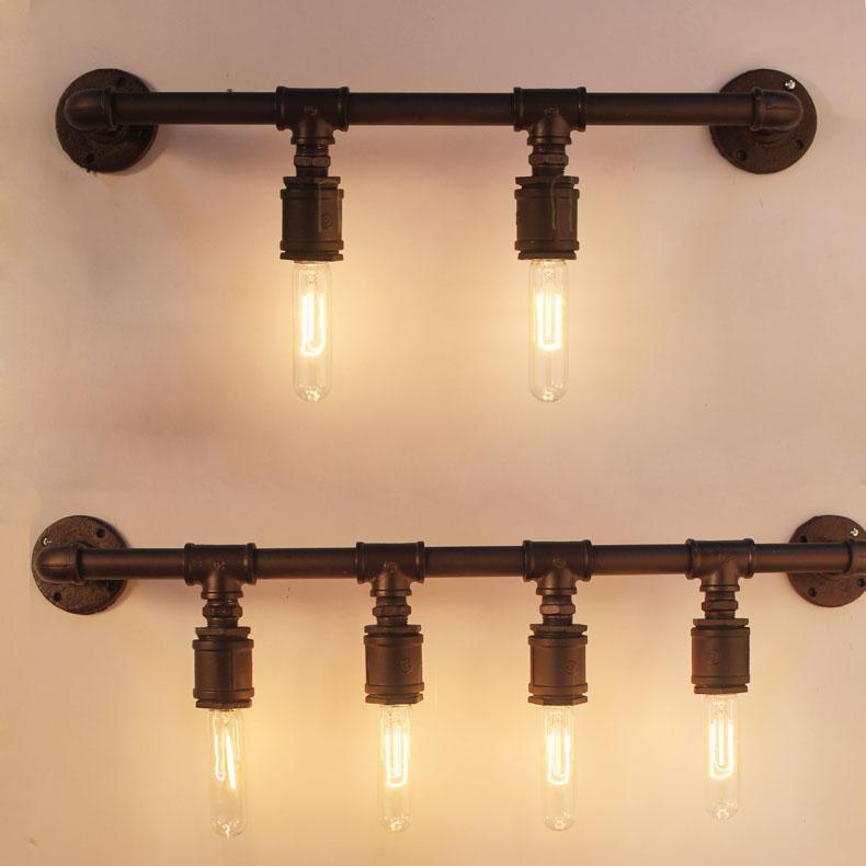 [ Firewood ] Industrial Pipe Wall Lights Wall Iron Loft Cafe Retro Study  Creative Four Wall Shelves
