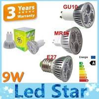Wholesale E14 Dimmable 3x3w 9w Led - CREE MR16 9W Dimmable Led Spot Downlights GU10 E27 E26 GU5.3 E14 3x3W Led Bulbs Light Warm Natural Cool White 110-240V 12V + CE ROHS UL CSA