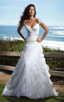 Wholesale Discount Lace Up Bridal Gowns - Hot Sale Cap Sleeves Ruched Organza Ruffles Asymmetrical Backless Wedding Dresses 2014 Big Discount Bridal Gown