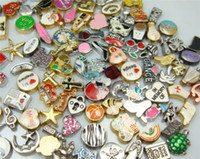 Wholesale floating glass charms resale online - 100PCS mixed random floating charm for glass living memory locket