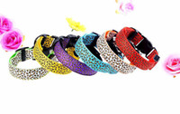 6 colori regolabili Leopard LED lampeggiante Nylon Pet dog Collar Night Safety Glow in the Dark Guinzaglio per cani Pet p27