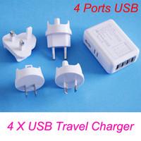 Wholesale Carregador Universal - Universal US EU UK AU 4 Plug 4 USB Ports Home Travel Wall AC Power Charger Adapter Carregador For ipad iphone 4 5 Moblie Phone
