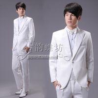Wholesale Photo Load - Huang Xiaoming Men dress tuxedo white British style Slim presided loading studio photos