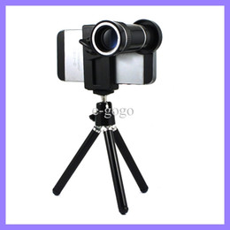 Samsung S5 Lens Canada - Universal Mobile Phone Holder +Phone Clip + 10x Zoom Camera Lens for iPhone 4 5S Samsung S5 HTC M8