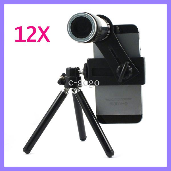 12x Zoom Optical Lens Mobile Phone Telescope Camera Lens with Tripod for iPhone 5 5S 4 4S Samsung S3 S4 S5 HTC ONE X M8