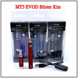 Wholesale Electronic Cigarette Kit Blister Pack - EVOD Kits MT3 Atomizer 650mah 900mah 1100mah EVOD Battery EVOD Blister Kits for Electronic Cigaertte E Cigarette Cig Packing Blister Ego Kit