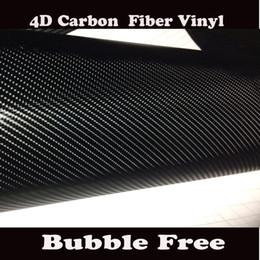 Wholesale Carbon Fiber Stickers For Cars - Premium Black 4D Carbon Fiber Vinyl Wrap Like realistic Carbon Fibre Film For Car Wrap Film With Air Bubble Free Shipping Size 1.52x30M Roll