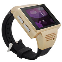 Wholesale Gold Quad Band Android Phone - Brand New Android Smart Watch Mobile Phone Quad Band WiFi Bluetooth USB Black Gold Color 3pcs DHL Free Drop Shipping
