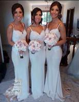 Wholesale Elegant Satin - New Fashion Sweetheart Lace Elastic Satin Sweep Sheath Column Bridesmaid Dresses With Spaghetti Straps Elegant Maid of Honor Free Shipping