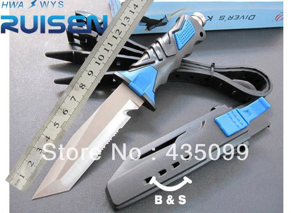 Wholesale Field survival/sharp's straight knife hunting knife saber/outdoor tool/American diving knife/send leggings blue