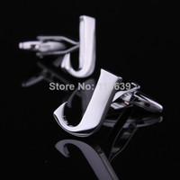 Wholesale Initial Cufflinks Wholesale - Classic initial letter J men cufflinks for shirt accessory silver color alphabet cuffs