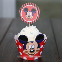 Wholesale Wholesale Cupcake Picks Topper - Free Shipping Mickey mouse cake cup picks toppers monogram decoration for party favors kids birthday, paper cupcake wrappers