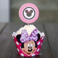 Wholesale Micky Mouse Party - Free Shipping Minnie mouse cupcake wrappers decoration birthday party favors for kids, Micky cup cake toppers picks supplies