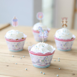 Wholesale Cheap Cupcakes Wrappers - Free shipping cute lovely baby shower favor kids party decoration cheap paper cupcake wrappers cups cake toppers picks for birthday supplies