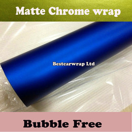 Car body film wrap online shopping - Blue Metallic Matt Chrome vinyl film for Car wrap Foile stickers with Air Release x20m Roll