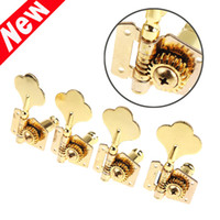 Wholesale Gold Guitar Screws - 4 pcs set Gold Machine Heads 4R Electric Bass Guitar Tuners Tuning Pegs Keys Set Guitar Parts With Mounting Screws and Ferrules I309
