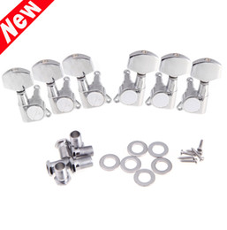Wholesale Head Guitar - 6 pcs set 3R 3L Chrome Electric Acoustic Guitar String Tuning Pegs Tuners Machine Heads Guitar Parts I315