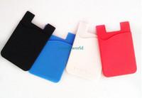 bons suportes para telefone venda por atacado-2016 hot 3 m adesivo colorido silicone phone case titular do cartão para iphone samsung htc boa qualidade frete grátis